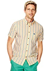 Blue Harbour Pure Cotton Oxford Double Striped Slim Fit Shirt