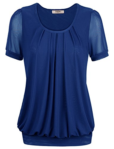Tunic Top,Timeson Women Stretchy Short Length Short Sleeve Tunic Top Large Blue
