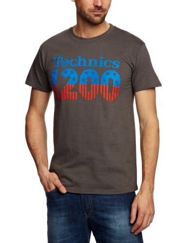 DMC Technics 1200 USA Men's T-Shirt Grey/Red/Blue Large