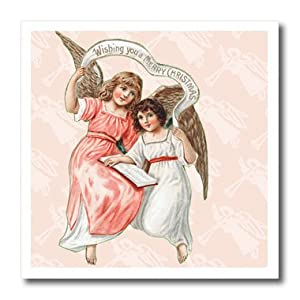 ht_97921_1 TNMPastPerfect Christmas - Two Angels Christmas Wishes - Iron on Heat Transfers - 8x8 Iron on Heat Transfer for White Material