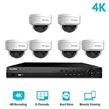 LaView 8 Channel Ultra HD 4K Home Security Camera System with 6 x 8MP IP Dome Cameras (3840 x 2160), 100ft Night Vision, Weatherproof Expandable Surveillance Camera System NVR 2TB HDD (Color: 6 PoE Dome, Tamaño: 8CH NVR/T2 HDD)