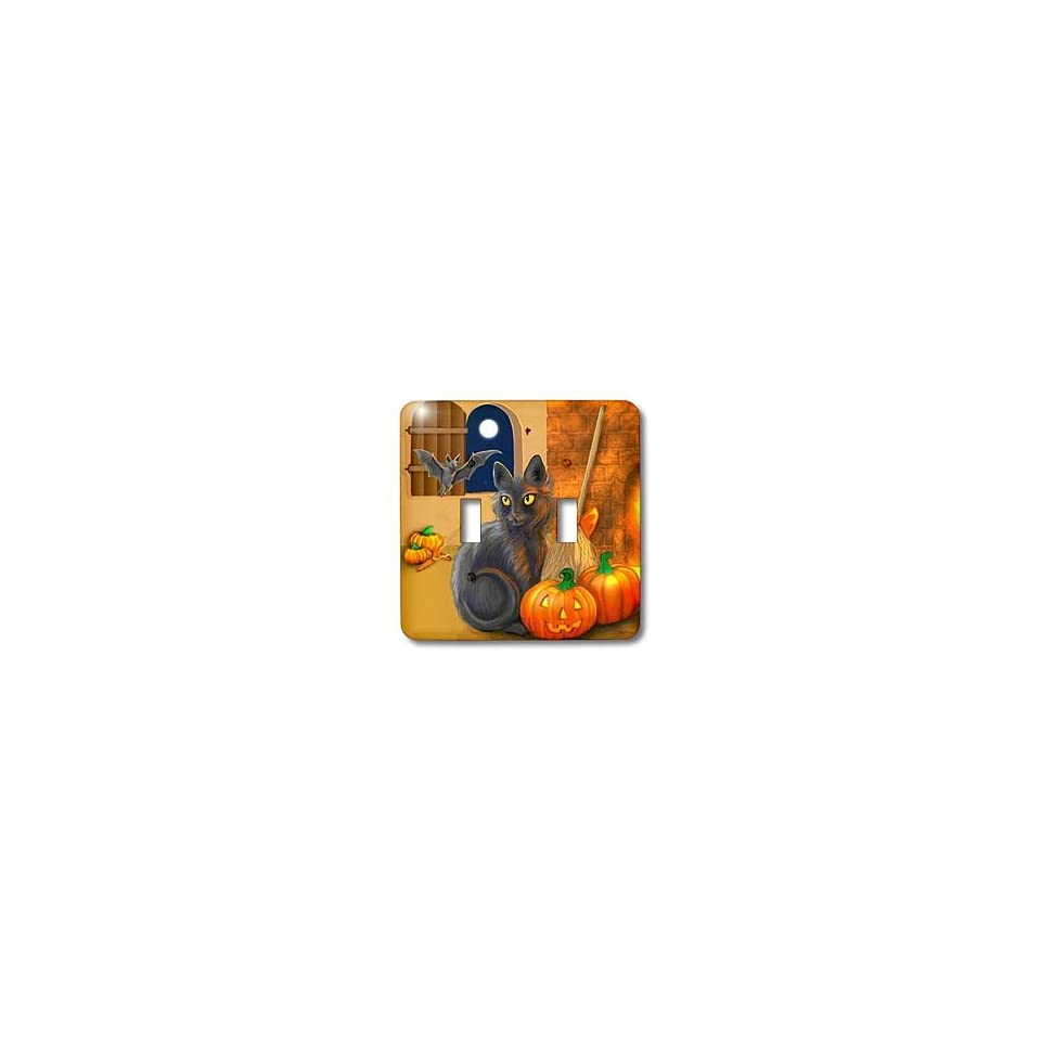 Dream Essence Designs Halloween   The Witchs Cat sits near a cozy fireplace entertaining her batty friend on Halloween night   Light Switch Covers   double toggle switch