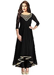 INDIA FASHION SHOP BLACK GOLD GEORGETTE PLAIN KURTI