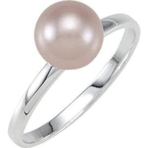 Sterling Silver Stackable Pink 8.0mm Glass Pearl Ring: Size 8