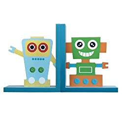 Adeco Decorative Robots on Blue Base Childs Wood Bookends (Set of 2)