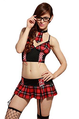 5-teiliges Schulmädchen Gogo Kostüm in Rot/Schwarz, One-Size