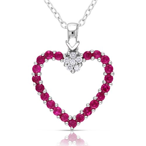 Sterling Silver Created Ruby and Diamond Heart Shaped Pendant Necklace with Chain, (.006 cttw, H-I Color, I3 Clarity), 18
