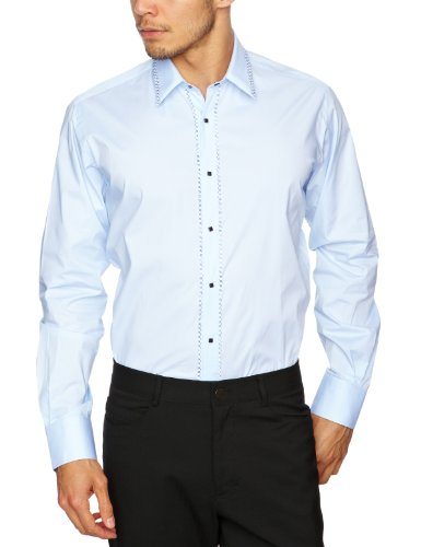 Lagerfeld Firenze Press Stud Contrast Men's Shirt Blue 41 IN