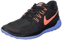 Nike Women\'s Free 5.0 Black/Hyper Orange/Chalk Blue Running Shoe 5.5 Women US
