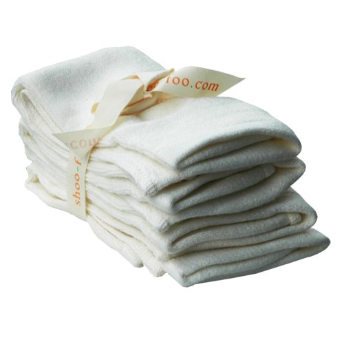 SHOO-FOO - 100-Percent Bamboo Facecloth - 11x13 in. - Bundle Of 4 - Natural Cream No Dye