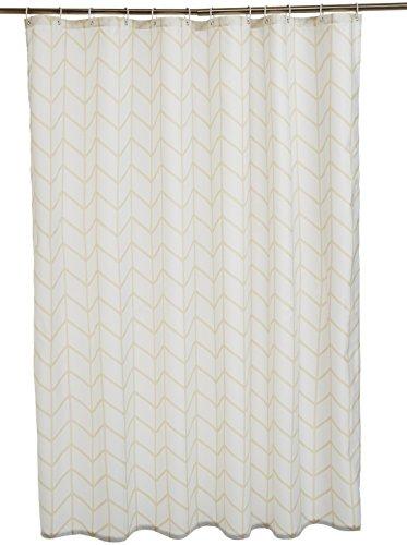 AmazonBasics - Tenda da doccia in tessuto con motivo stampato a lisca di pesce, 180 x 200 cm, colore: beige