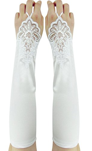 Simplicity Lace Long Opera Formal Wedding Bridal White Gloves