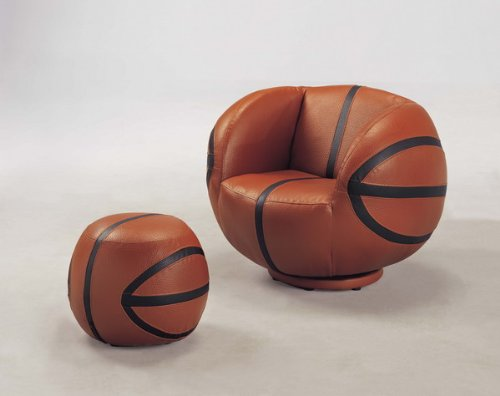 2 PC Basketball Chair and Ottoman Set