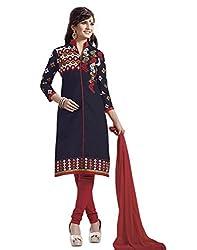 Surat Tex Navy Blue Color Party Wear Embroidered Cotton Un-Stitched Dress Material-H945DL10