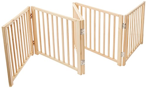 Four Paws 5 Panel Free Standing Walk Over Wooden Dog Gate, 48