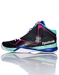 Reebok Men's Pumpspective Omni Basketball Shoe,Black/Blue Move/Emerald Sea/White/Candy Pink,13 M US