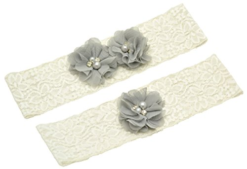 Wishprom Ivory Lace Wedding Garter Gray Chiffon Flower Vintage Toss Garter (S / 17-18 Inches)