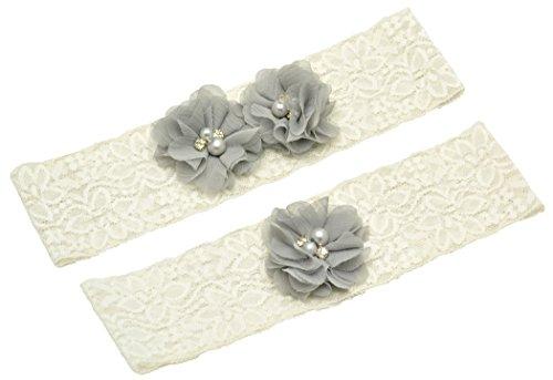 Wishprom Ivory Lace Wedding Garter Gray Chiffon Flower Vintage Toss Garter (S / 17-18 Inches)