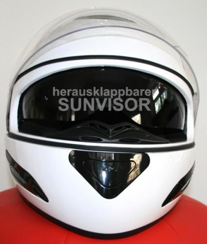 casques de moto casque int gral dd 33 avec pare soleil blanc s abs polycarbon sport. Black Bedroom Furniture Sets. Home Design Ideas