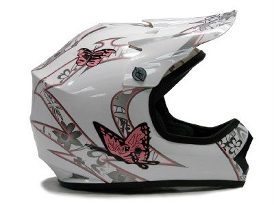 Tms Youth Pink Butterfly Dirtbike Atv Motocross Helmet Mx (Medium)