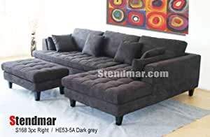 Amazon 3pc New Modern Dark Grey Microfiber Sectional Sofa Chaise Ottoman Set S168RDG