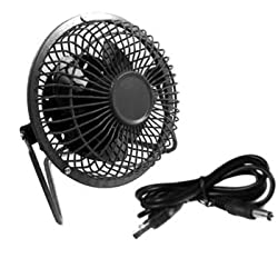 kilofly Desktop Metallic Mini USB Fan, Super Quiet - Black