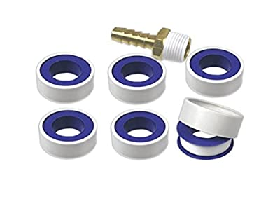 "6-Rolls Teflon Tape Plumbing Pipe Thread Seal & Fitting Sealant 1/2"" x 260"" Roll by Tool Essentials"