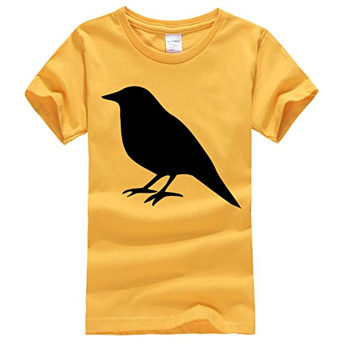 Round collar bird silhouette short sleeves T shirt x-large golden