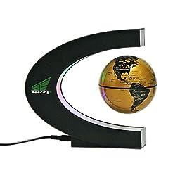 Magnetic Levitation Floating World Map Globe with LED Lights for Learning Education Teaching Demo Home Office Desk Decoration (C Shape + Gold Globe)