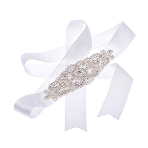 Remedios Boutique Satin Bridal Sash with Rhinestone and Pearl,Ivory