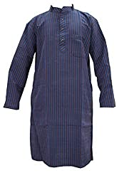 Indiatrendzs Men's Cotton Kurta (Mk-86A _Blue _46)