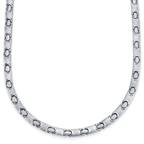 Amazing Style Titanium Mens Flat Link 20 inch Chain Necklace Free Shipping