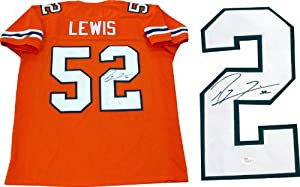 Ray Lewis Autographed University of Miami Hurricanes Jersey (JSA) by Hollywood+Collectibles