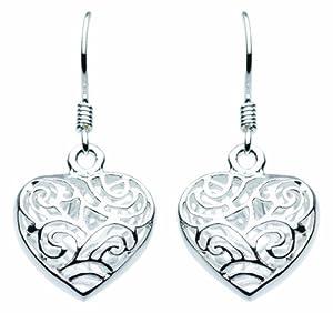 Dew SP68811HP006 - Pendientes de mujer, modelo corazón, chapados en plata 3D