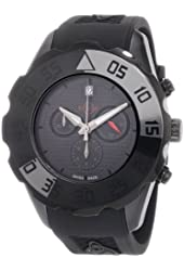 GV2 by Gevril Men's 3005R Parachute Black PVD Chronograph Rubber Date Watch
