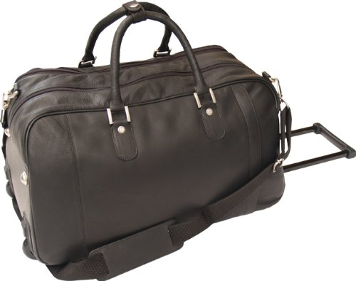 HIDEONLINE BLACK LEATHER TROLLEY WHEELED HOLDALL DUFFLE GYM BAG