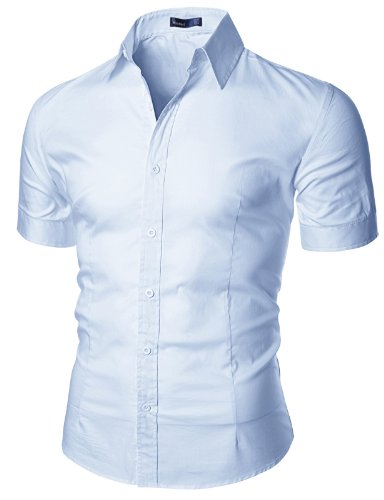 Doublju mens wrinkle free short sleeve dress shirt for Wrinkle free dress shirts amazon