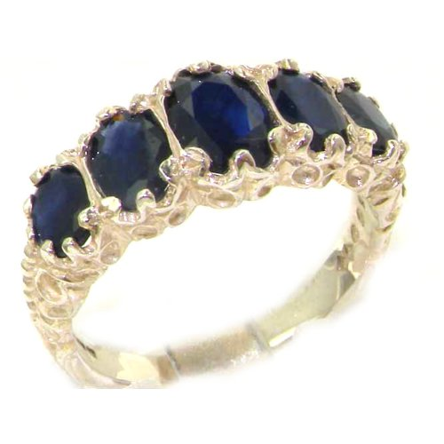 Luxury Ladies Victorian Style Solid Hallmarked Sterling Silver Sapphire Ring - Size 12 - Finger Sizes 5 to 12 Available - Suitable as an Anniversary ring, Engagement ring, Eternity ring, or Promise ring