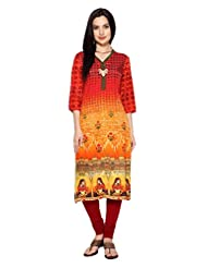 Rangmanch By Pantaloons Women's Poly Blend Straight Kurta