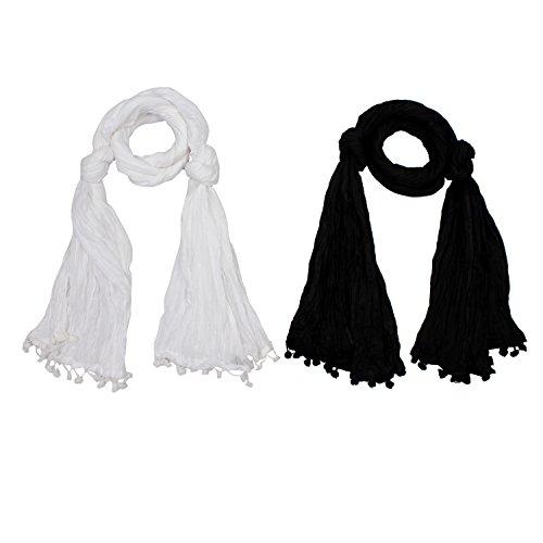 RangReza Solid Cotton Black and White Combo Dupatta/ Stoles