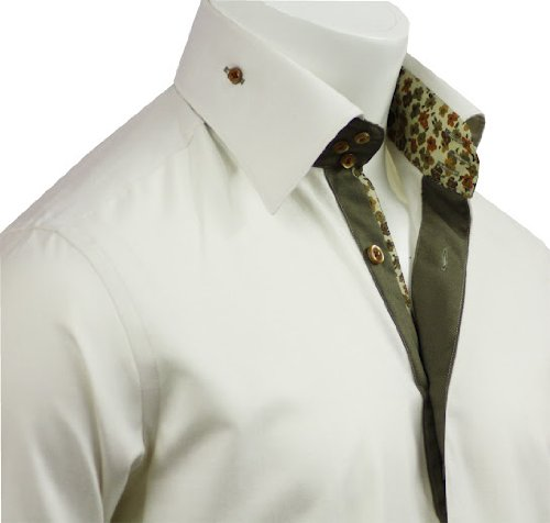 Men's Formal & Casual Italian Design Shirts Creem Colour Slim Fit S-4XL