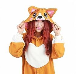 SZTARA Costume Premium Fleece Plush Hooded Onesie Unisex Animal Cosplay Pajamas Kigurumi Corgi Dog