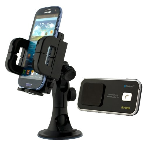 Ikross Solar/Usb Powered Wireless Bluetooth Speaker Phone Handsfree Car Kit + Car Windshield Large Black Mount Holder For Samsung Ativ Se, Galaxy S5 S4, Galaxy Note 3 2, Galaxy Mega 6.3 And Other Large Android Cell Phone, Smartphone And More