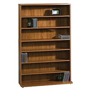sauder beginnings multimedia storage tower pecan standing shelf units. Black Bedroom Furniture Sets. Home Design Ideas