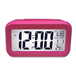 TOMTOO Alarm Clock Slim Digital Clock Large Display Travel Alarm Clock with Calendar & Large Display and Smart Night Light(White backlight) Lcd Home Alarm Clock (Rose)