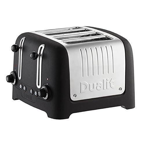 Dualit Lite Stoneware Basalt Finish Lite Range 4-Slot Toaster, Black