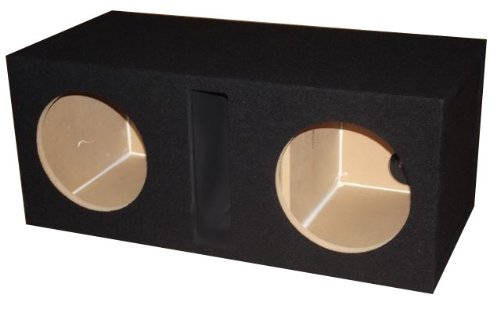 "R/T - Black Dual 15"" Slot Vented Sub Bass Hatchback Speaker Box With Labyrinth Power Port (Mdf)"