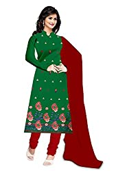 Zombom Green Crepe Embroidered Un-stitched Salwar Suit