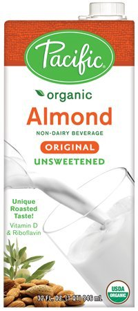Pacific Foods Organic Almond Milk, Unsweetened Original, 32-Ounce Boxes, (Pack of 12)