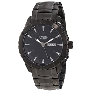 Armitron Men's 20/4834BKTI Stainless Steel Black Ion-Plated Day-Date Bracelet Watch